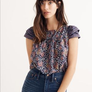 Madewell Fan Floral Mix Story Top, size 6
